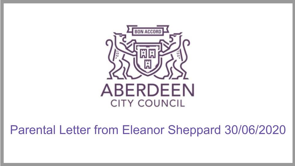 Letter from Chief Education Officer Eleanor Sheppard 30/06/2020